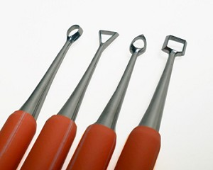 Rubber Handle Double Ended Carving Tool Set Xiem Stainless Steel Orange Set